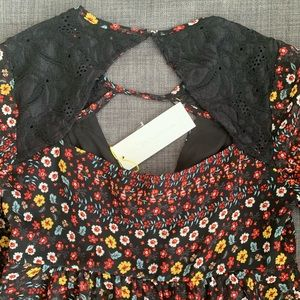 BCBGeneration Tops - BCBGeneration Boho Flowers & Lace Summer Top NWT